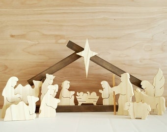 COMPLETE Nativity set with small stable (13figurines+Small Stable)