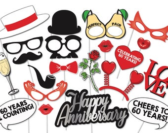 60th Wedding Anniversary Photo booth Props Set - 21 Piece PRINTABLE - Wedding Anniversary party, Photo Booth Props