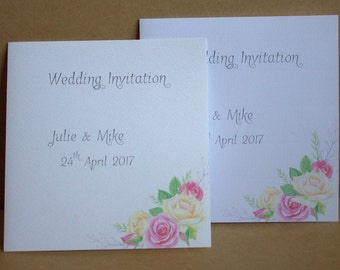 "Sample / Handmade Personalised Paper Wedding Invitation & Envelope 6"" x 6"""