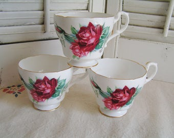 Set of 3 Vintage Christian Dior Red Roses Bone China Tea Cups by Royal Standard Made in England Cottage Chic Roses Tea Party Cups