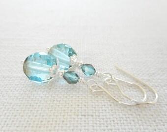 Aqua Blue Czech Glass Earrings, Blue Glass Beaded Drop Earrings, Czech Glass Jewelry, Silver Dangle Earrings, Jewelry Gift for Her