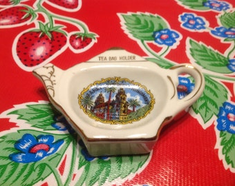 Vintage souvenir  teapot shaped ceramic tea bag holder or caddy- Hearst Castle, San Simeon,  California
