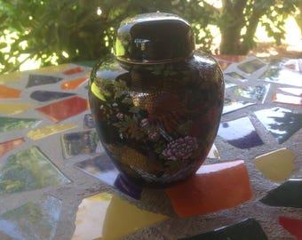 Vintage beautiful Imperial Kutani hand painted ceramic pheasant lidded jar- Japan