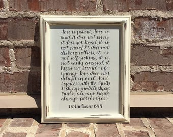 Hand Lettered - Modern Calligraphy - 1 Corinthians 13:4-7- Love is Patient, Love is Kind - 8X10 In. Drawing Paper In White Distressed Frame
