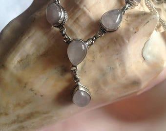 """Rose Quartz Necklace - Rose Quartz Vintage Necklace - 18 1/2"""" Rose Quartz Silver Necklace - Rose Quartz Teardrop Necklace"""