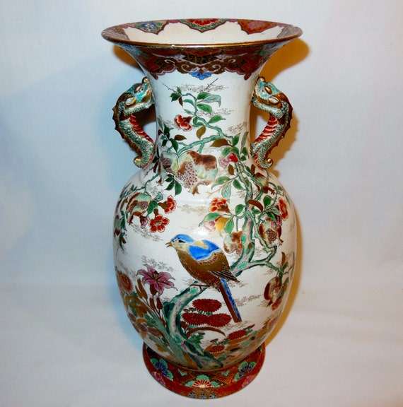 Beautiful Antique Satsuma Vase Dragon Handle Floral Blue Bird Scenes