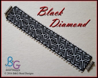 BLACK DIAMOND Peyote Cuff Bracelet Pattern