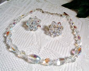 Vintage 1950's Aurora Borealis Austrian Crystal Collar Necklace & Clip Earrings Set