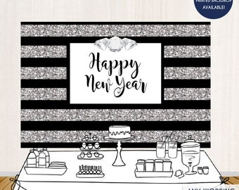 Happy New Year Party Backdrop, Silver Glitter, Silver Sparkles, New Year's Eve Backdrop Any Type Of Event Printed Or Printable File BHO0001
