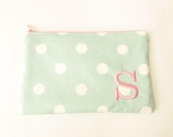 Polka Dot Bag - Monogram Makeup Bag - Cosmetic Bag - Zip Wallet - Bridesmaid Bag - Zipper Pouch - Medium
