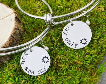 You Are My Sunshine Adjustable Bangle Bracelet Set - Stacking Bangles