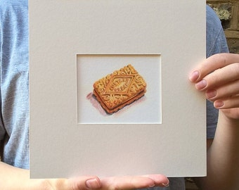 Custard cream biscuit - a print made from my original sketchbook drawing.