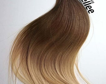 Light Golden Brown Balayage Weave Hair Extensions  | Silky Straight Natural Human Hair | Machine Tied Weft | 1, 2, 3, & 4  Bundle Deals