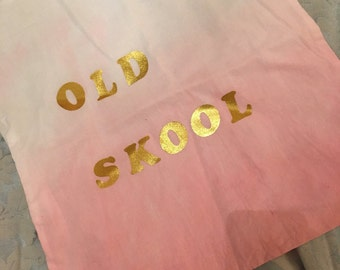 Pink ombre and gold old skool cotton bag