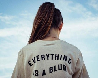 everything is a blur t-shirt back print sand color beige screen printed streetwear tee shirt by always again