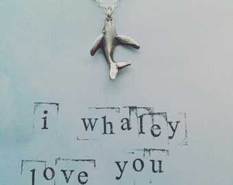 Silver whale necklace with whole and card