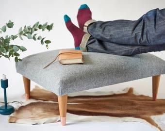 Grey wool footstool