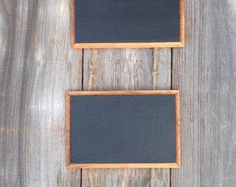 3 tier hanging stained wood chalk sign with jute twine