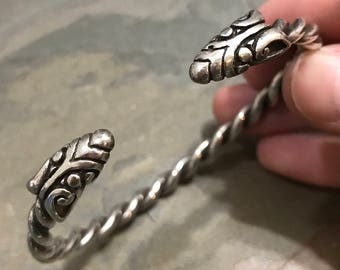 """7.5"""", Vintage sterling silver handmade bracelet, solid Mexico 925 silver twisted wired cuff with dragon head ends, silver tested"""