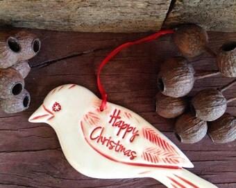 Christmas Decoration, Ceramic Decorative Bird Handmade, Sparrow Red & White, Happy Christmas