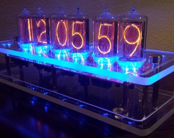6-Digit Z5660M Large Tube Nixie Clock - Clear Case - Optional GPS Synchronization
