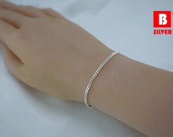 925 Sterling Silver Bracelet, Single Curb Diamond Chain (Code : YA1)