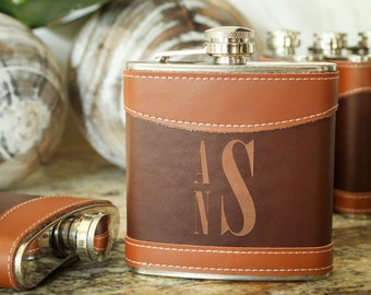 Monogrammed Flask, Leather Flasks, Custom Flask, Engraved Flask, Hip Flask: Gift for Him, Groomsmen, Bachelors, Bridesmaid, Fathers Day