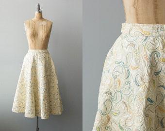 Birthday Cake skirt | Vintage 1950s cream satin circle skirt with embroidery | Vintage 50s pastel skirt