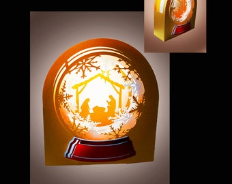 Snow Globe Nativity Scene Box template