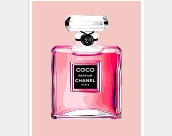 Chanel Perfume Bottle Print - Pink Perfume Print - Pink Chanel Perfume Bottle Print - Chanel Print