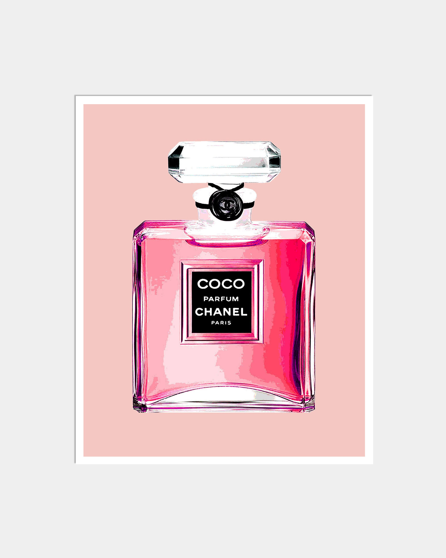 Chanel Perfume Bottle Print Pink Perfume Print Pink Chanel