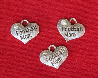 """BULK! 15pc """"Football Mom"""" charms in antique silver style (BC1201B)"""