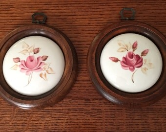 Two Vintage Miniature Delicate Hand Painted Plaques