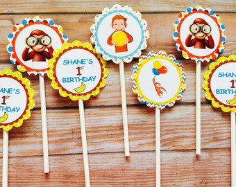 Curious george  cupcake toppers , curious george toppers