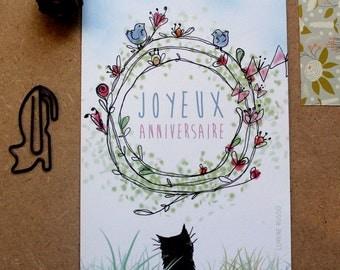 Postcard - happy birthday - cat country - craft stationery