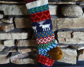 Personalized Christmas Stockings, Knit Christmas Stockings, Knitted Christmas Stocking, Hand Knit Christmas Stocking, Plum Moose, Red Hearts