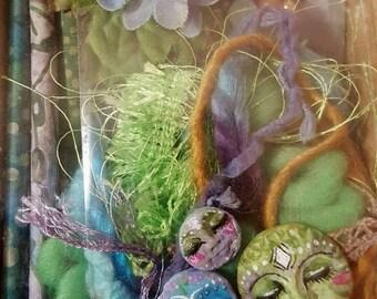 DIY Art Doll/Mixed Media- Fiber Art Assemblage doll/ Kitchen Witch/ Spirit doll/ Inspiration kit- Green Goddeess