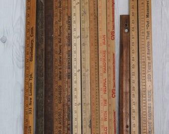 Vintage Lot of 13 Wooden Yard Sticks, Vintage Wood Yardstick Lot, Vintage Measuring Stick, Vintage Ruler