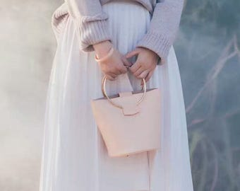 Handmade Leather Bucket Bag Should Bang Ring-handle Bag Circle Bag