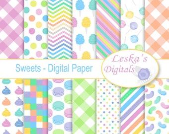 "Candy Digital Paper ""CANDY PATTERN PRINTS"" Pastel candy digital scrapbook paper, Candy download, Candy pattern background"