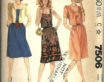 McCall's 7506      Misses Jacket and Dress         C1981       Size 12,14,16