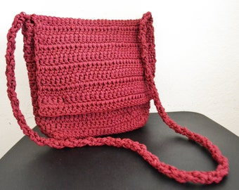 Knit purse, burgundy knit shoulder bag,bag