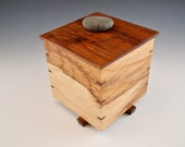 Lidded Wood Box with Natural Color Handcrafted from Pecan and Walnut with Pebble Finial