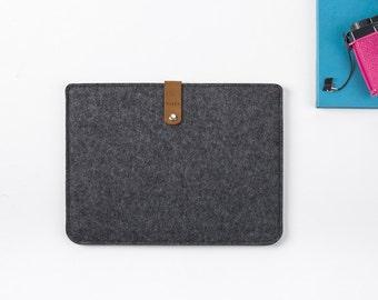 iPad Wool Felt Cover, Case iPad Air 2 Case, Felt and Leather Case, iPad Cover