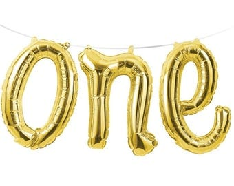 Gold ONE Foil Balloon Banner Garland - 1st Birthday Party Decoration