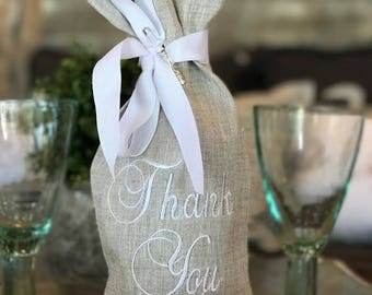 Thank You Linen Wine Bag Thank You Wine Bag