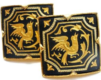 Damascene Earrings, Gold Plated Birds, Black Enamel, Vintage Jewelry, Bird Earrings, Pierced Earrings, Square Earrings