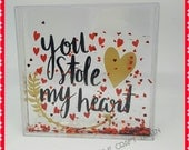 You stole my heart snow globe type frame with red glitter hearts  valentines photo frame gifts for him gifts for her