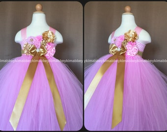 Flower girl tutu dress pink and gold