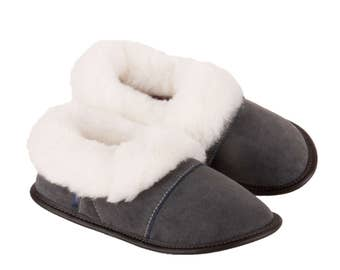 "Sheepskin Slippers, ""Suede Lazybones-Charcoal"""